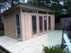 Mod Design No. 18 with extended deck, double glass doors and sidelights, and mod window (on side)