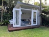 MOD CABANA NO.12 WITH 2 SETS OF DOUBLE DOORS + GLASS SIDELIGHT, CEDAR CLADDING