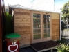 Workshed2036 with cedar cladding and double colonial doors