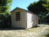 Workshed Design No. 2654, with cedar window upgrade, add gutters & Downpipes, Board & Batten cladding
