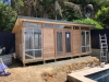Mod Cabana No.20 with cedar cladding, double doors & 2 x panorama windows