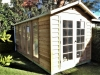 Cabana No.10 with cedar cladding, french double doors and double glass doors and sidelights