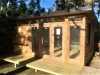 Mod Cabana No.18 with cedar cladding, double glass doors and sidelights