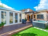 Verandah Design No. 20_No Verandah, paintwork & decking by client, Upgrade to double glass doors with sidelights, board + Batten