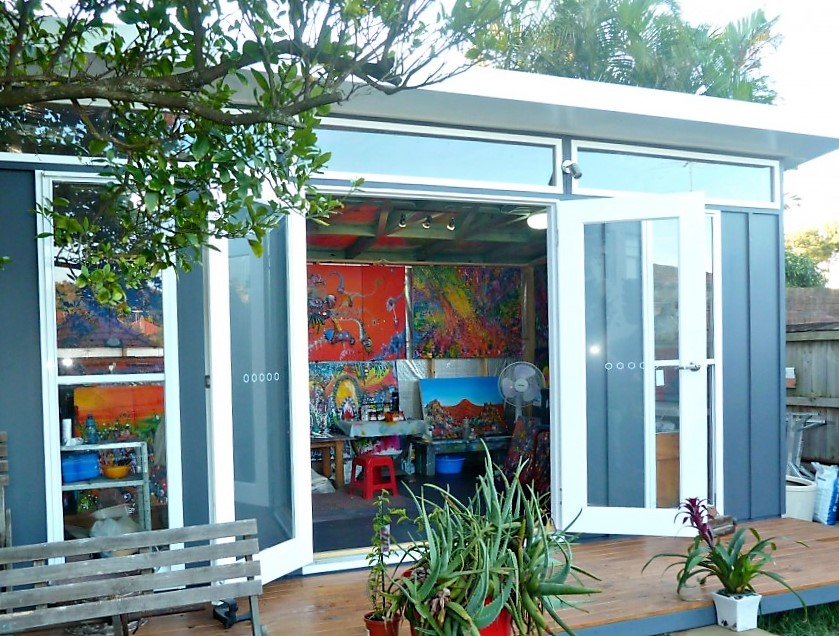 David's large & colourful backyard art studio in North Sydney.